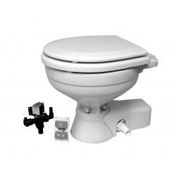 Quiet flush electric toilets