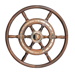 Type 02, 6 spoke teak steering wheel with teak rim