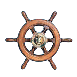 Type 04, 6 spoke teak steering wheel with brass/chrome cap