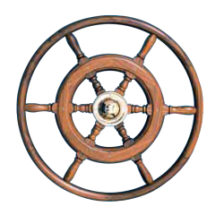 Type 05, 6 spoke teak steering wheel with teak rim