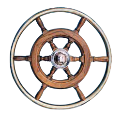 Type 06, 6 spoke teak steering wheel with SS rim