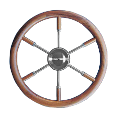 Type 17 Steering wheel of SS, with teak outside ring & grip