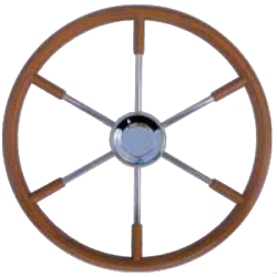 Type 20 Steering wheel of SS, with teak outside ring & grip