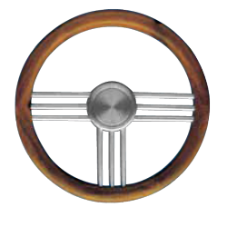 Type 27 Steering wheel of anodized aluminium with teak