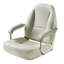 Seat helm MASTER CHFASW with White<br/>artificial leather upholstery<br/>SS frame & fixed armrest