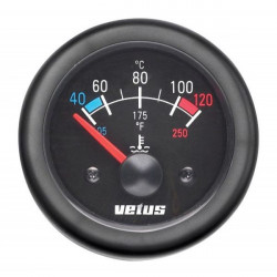 Gauge water temperature TEMP12B<br/>black 12V (40-120 deg. C) cut-out<br/>Dia. 52 mm excluding sensor