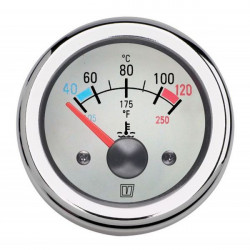 Gauge water temperature TEMP12WL<br/>white 12V (40-120 deg. C) cut-out<br/>Dia. 52 mm excluding sensor
