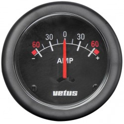 Ammeter AMPB black 12/24V (+/- 60A)<br/>cut-out Dia. 52 mm with built-in<br/>shunt