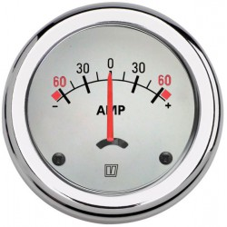Ammeter AMPWL white 12/24V<br/>(+/- 60A) cut-out Dia. 52 mm with<br/>built-in shunt
