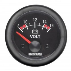 Voltmeter VOLT12B black 12V<br/>(10-16V) cut-out Dia. 52 mm<br/>