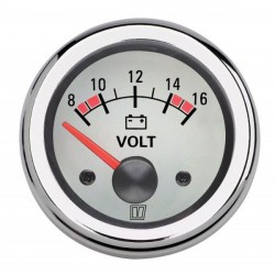 Voltmeter VOLT12WL white 12V<br/>(10-16V) cut-out Dia. 52 mm<br/>