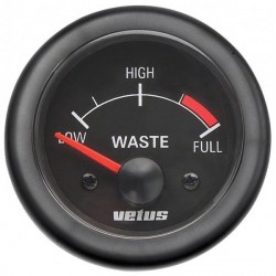 Gauge waste water level WASTE12B<br/>black 12V cut-out Dia. 52 mm<br/>excluding sensor