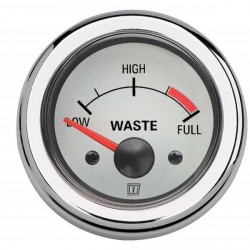 Gauge waste water level WASTE12WL<br/>white 12V cut-out Dia. 52 mm<br/>excluding sensor