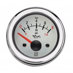 Gauge oil pressure OIL12WL white 12<br/>V (0-8kg/cm2) cut-out Dia. 52 mm<br/>excluding sensor