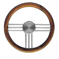 Steering Wheel type 27 Dia. 400 mm<br/>anodized Aluminium spoke and hub<br/>with teak rim