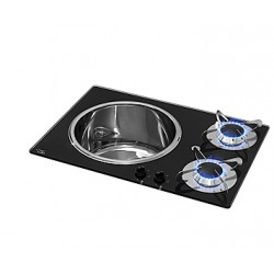 "Cooker Gas ""Crystal"" 1 Aux<br/>1 semi- & 1 rapid burner Vert<br/>switch"