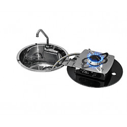 "Tip-up and flap hob unit SS sink ""Foldy"" LC1701 and LC1710"