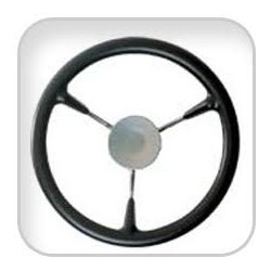 Steering wheel KS38Z Dia.380mm<br/>SS316 spoke, cap & rim with Black<br/>PU foam layer