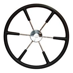Steering wheel KS55Z Dia.550mm<br/>SS316 spoke, cap & rim with Black<br/>PU foam layer