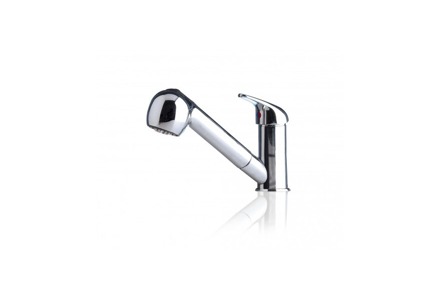 Compact mixer with pull-out shower
