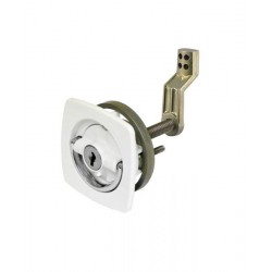 Lock flush mount white body &<br/>chrome handle with offset cam<br/>bar & flexible polymer strike