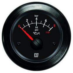 Gauge oil pressure OILB black 12/24<br/>V (0-8kg/cm2) cut-out Dia. 52mm<br/>excluding sensor
