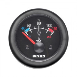 Gauge water temperature TEMPB black<br/>12/24V (40-120 deg. C) cutout<br/>Dia. 52mm excluding sensor