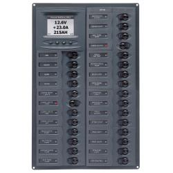 Panel M28-DCSM 12V 28 breaker<br/>Vertical mount with digital meter<br/>Millenium series